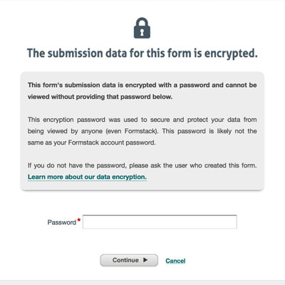 screenshot of Formstack encryption