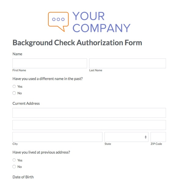 Background Check Form. Background Check Authorization Form