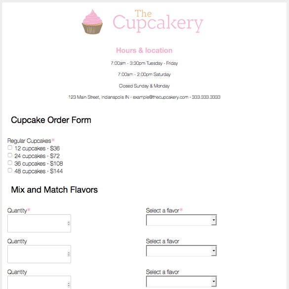 Cupcake Order Form Bjs Cakes Order Form Save  On Wellsley Farms