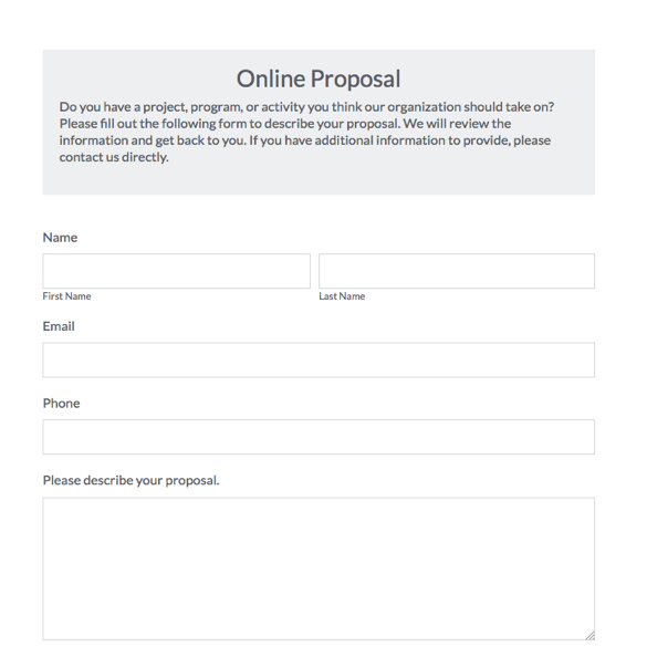 Formstack  Proposal Form Template
